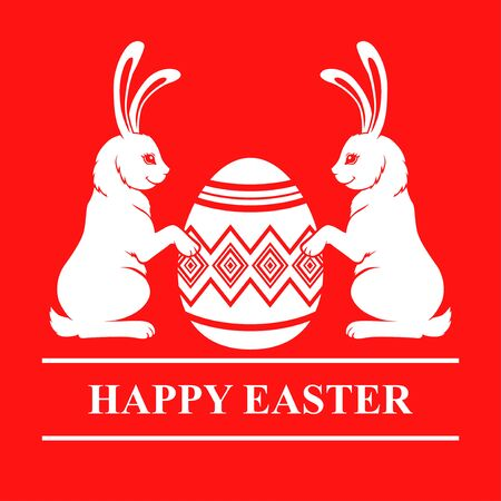 Vector illustrations of Easter card with rabbits and decorative egg on red background Vettoriali