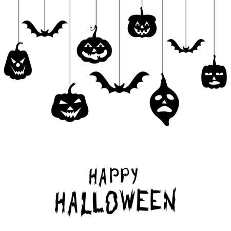 Vector illustrations of Halloween funny horror pumpkin greeting card 矢量图像