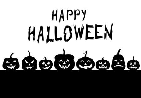 Vector illustrations of Halloween funny horror pumpkin greeting banner
