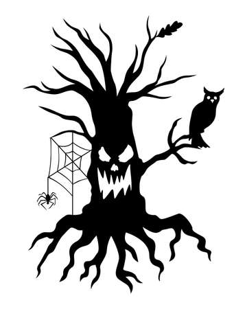 Vector illustrations of Scary Halloween Tree