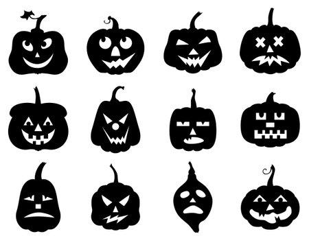 Vector illustrations of Halloween funny horror pumpkin set 矢量图像