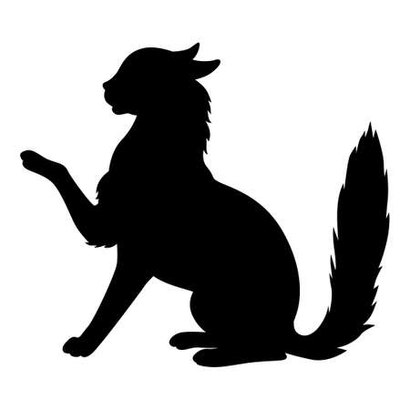 Vector illustrations of silhouette of sitting black cat in the profile