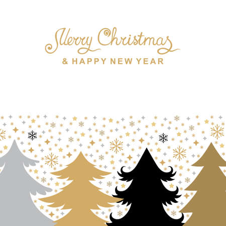 Vector illustrations of Christmas card with fir trees and snowflakes 矢量图像
