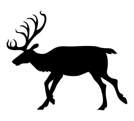 Vector illustrations of Christmas reindeer silhouette