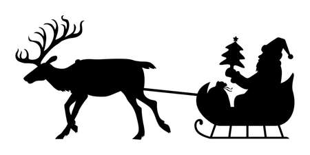 Vector illustrations of silhouette of Santa Claus carrying gifts on a reindeer sleigh 矢量图像