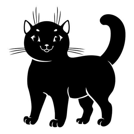 Vector illustrations of cute cat silhouettes