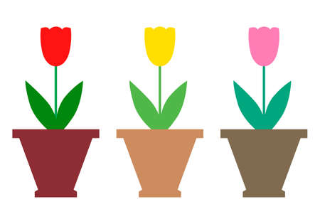 Vector illustrations of color tulips flowers icon set