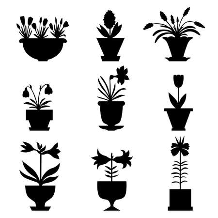 Vector illustrations of silhouette flowers icon set