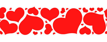 Vector illustration of Valentines day horizontal pattern seamless with hearts