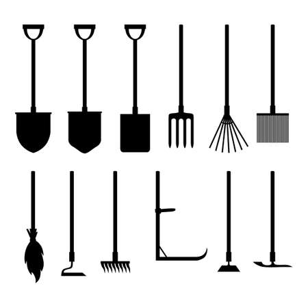 Vector illustration of garden tools silhouettes set