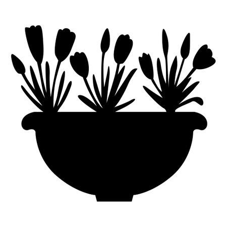 Vector illustration of silhouette crocus in flowerpot 矢量图像