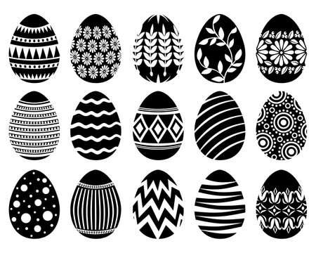 Vector illustrations of Easter decorative eggs set 矢量图像
