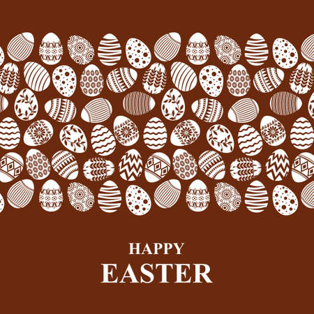 Vector illustrations of Easter card with decorative eggs ornament on chocolate background