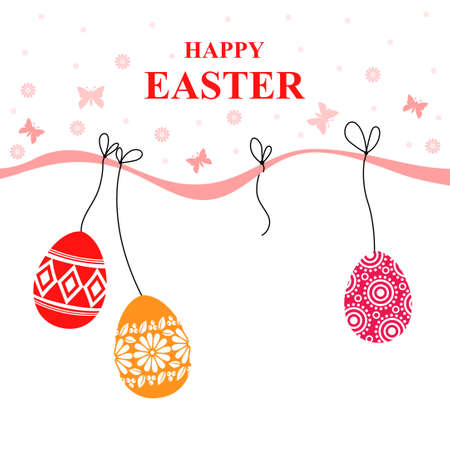 Vector illustrations of Easter card with decorative eggs hang