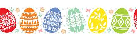Vector illustrations of Easter decorative eggs horizontal pattern seamless