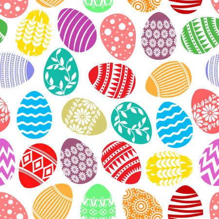 Vector illustrations of Easter decorative eggs pattern seamless 矢量图像