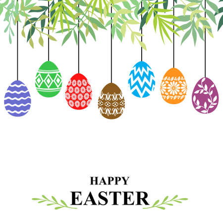 Vector illustrations of Easter card with decorative eggs hanging among branches with leaves