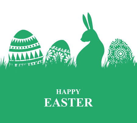 Vector illustrations of Easter card with decorative eggs on the grass and rabbit