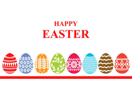 Vector illustrations of Easter card with decorative eggs