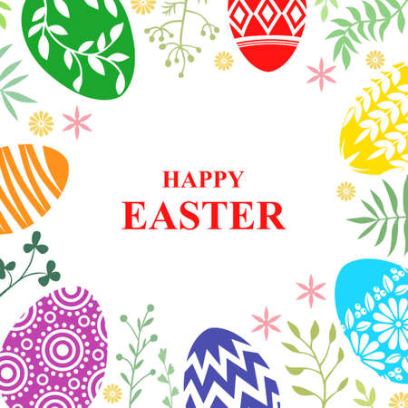 Vector illustrations of Easter card with egg and decorative branches