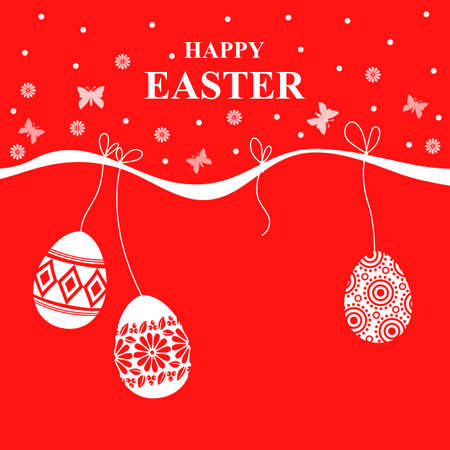 Vector illustrations of Easter card with decorative eggs hang on red background