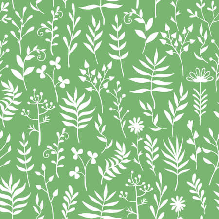 Vector illustrations of decorative herbals, branches and flowers pattern seamless on green background 矢量图像