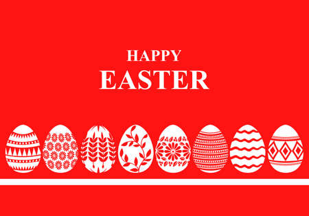 Vector illustrations of Easter card with decorative eggs on red background
