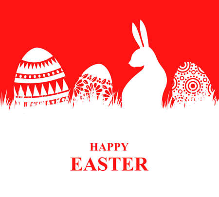 Vector illustrations of Easter card with decorative eggs on the grass and rabbit on red background 矢量图像