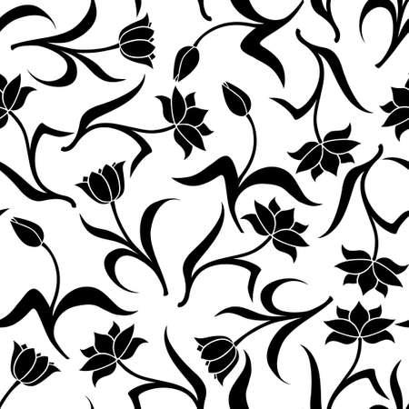 Vector illustrations of decorative tulip flower pattern seamless