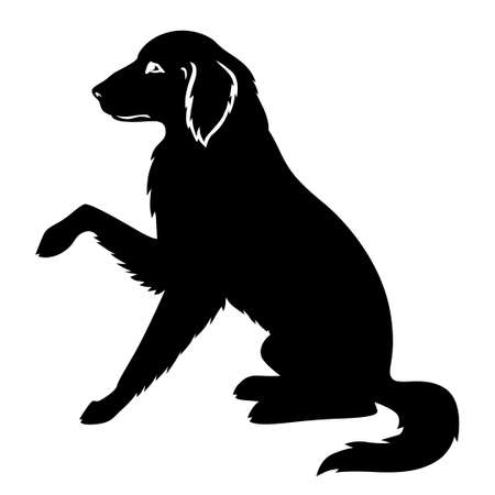 Vector illustrations of silhouette big dog golden retriever
