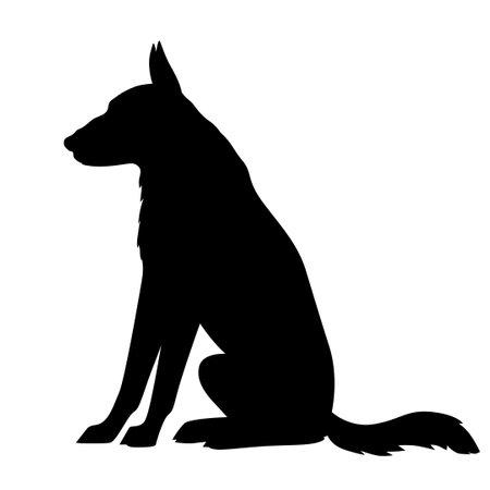 Vector illustrations of silhouette big dog shepherd