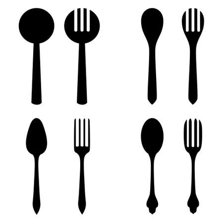 Vector illustrations of silhouette set of cutlery. Spoon and fork 矢量图像