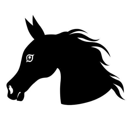 Vector illustrations of silhouette horses heads in profile