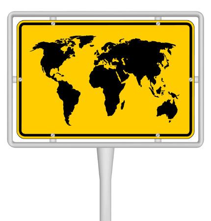 goldy: mapa del mundo en se�al de viajes Vectores