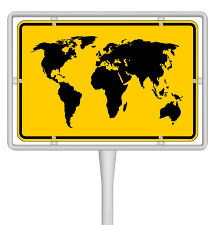 world map on travel sign