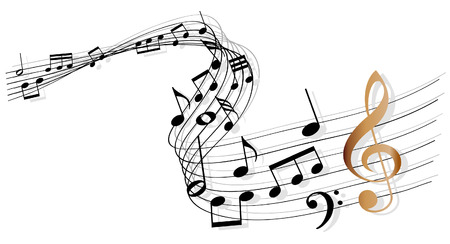 klavier: Noten mit Notenschlüssel Gold Illustration