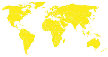 globally: yellow world map