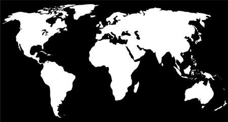 globalism: white world map on the black background