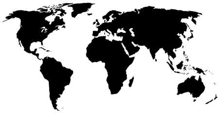 globalism: black world map Illustration