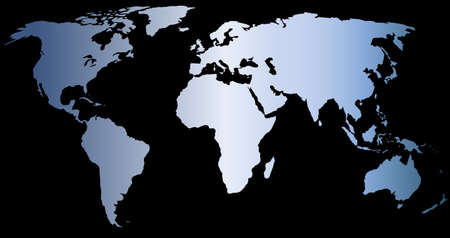globalism: blue world map on black background