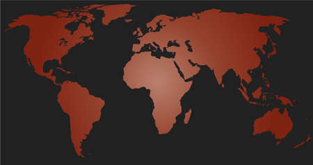 globalism: red world map on black background Illustration