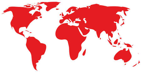 globally: red world map silhouette