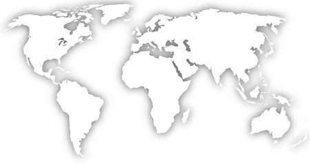 globally: white world map silhouette with shadow
