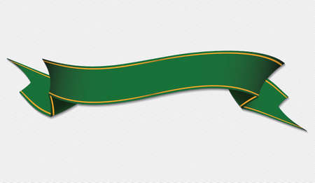 green ribbon: green ribbon banner on gray background