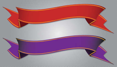 purple ribbon: red and purple ribbon banner set