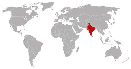 India on the world map
