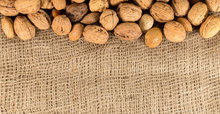 Frame of nuts set on fabric background