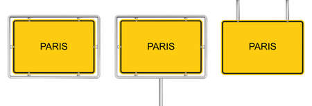 Yellow road sign with PARIS isolated on white background