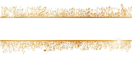 Golden musical notes frame isolated on white background with free space for your text