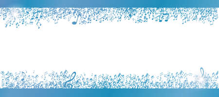 Blue musical notes frame isolated on white background with free space for your text